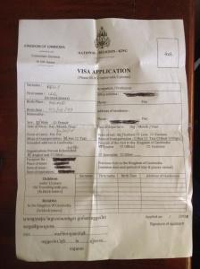 The fake Visa application form